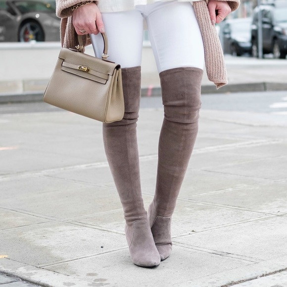 6be7ac3f194 Goodnight Macaroon Carina Taupe Faux Suede Boots
